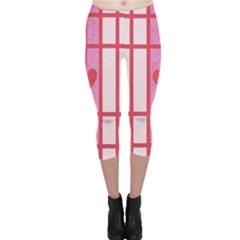 Fabric Magenta Texture Textile Love Hearth Capri Leggings