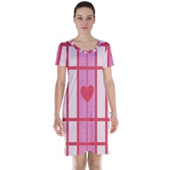 Fabric Magenta Texture Textile Love Hearth Short Sleeve Nightdress