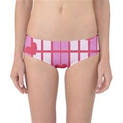 Fabric Magenta Texture Textile Love Hearth Classic Bikini Bottoms