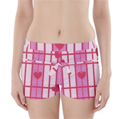 Fabric Magenta Texture Textile Love Hearth Boyleg Bikini Wrap Bottoms