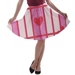 Fabric Magenta Texture Textile Love Hearth A-line Skater Skirt