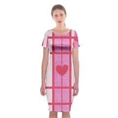 Fabric Magenta Texture Textile Love Hearth Classic Short Sleeve Midi Dress