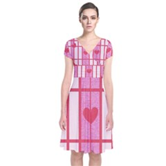 Fabric Magenta Texture Textile Love Hearth Short Sleeve Front Wrap Dress