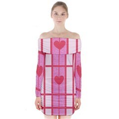 Fabric Magenta Texture Textile Love Hearth Long Sleeve Off Shoulder Dress