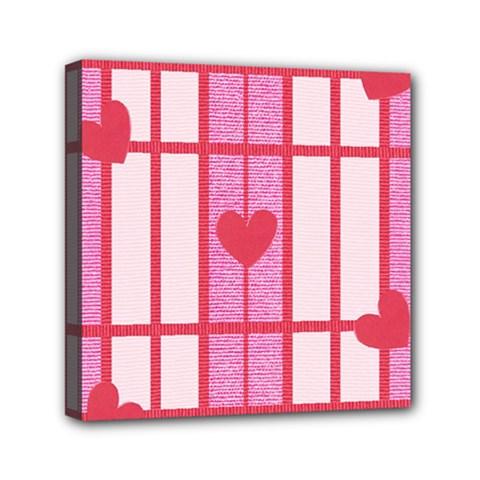 Fabric Magenta Texture Textile Love Hearth Mini Canvas 6  x 6