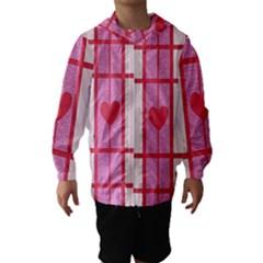 Fabric Magenta Texture Textile Love Hearth Hooded Wind Breaker (Kids)