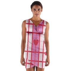 Fabric Magenta Texture Textile Love Hearth Wrap Front Bodycon Dress