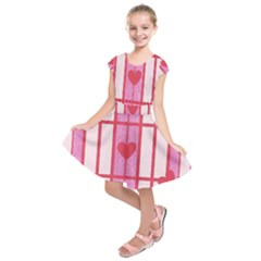 Fabric Magenta Texture Textile Love Hearth Kids  Short Sleeve Dress