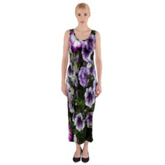 Flowers Blossom Bloom Plant Nature Fitted Maxi Dress