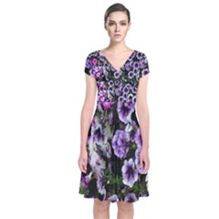 Flowers Blossom Bloom Plant Nature Short Sleeve Front Wrap Dress