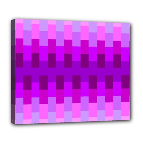 Geometric Cubes Pink Purple Blue Deluxe Canvas 24  x 20