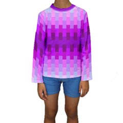 Geometric Cubes Pink Purple Blue Kids  Long Sleeve Swimwear