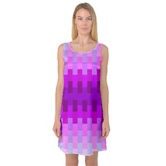 Geometric Cubes Pink Purple Blue Sleeveless Satin Nightdress