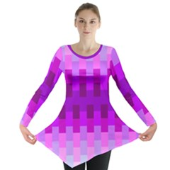 Geometric Cubes Pink Purple Blue Long Sleeve Tunic