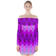 Geometric Cubes Pink Purple Blue Long Sleeve Off Shoulder Dress