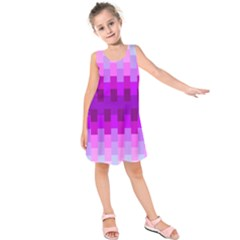 Geometric Cubes Pink Purple Blue Kids  Sleeveless Dress