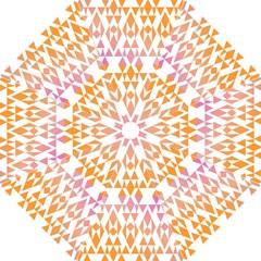 Geometric Abstract Orange Purple Pattern Hook Handle Umbrellas (Medium)