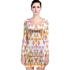 Geometric Abstract Orange Purple Pattern Long Sleeve Bodycon Dress