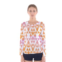 Geometric Abstract Orange Purple Pattern Women s Long Sleeve Tee