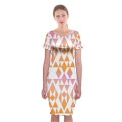 Geometric Abstract Orange Purple Pattern Classic Short Sleeve Midi Dress