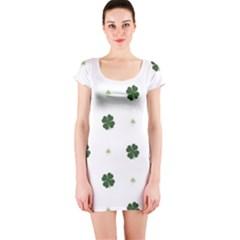 Green Leaf Short Sleeve Bodycon Dress