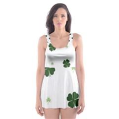 Green Leaf Skater Dress Swimsuit
