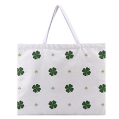 Green Leaf Zipper Large Tote Bag
