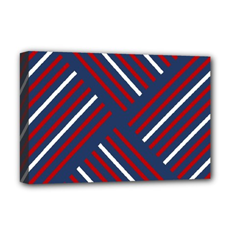 Geometric Background Stripes Red White Deluxe Canvas 18  x 12