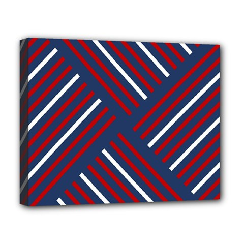Geometric Background Stripes Red White Deluxe Canvas 20  x 16