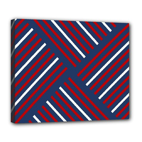 Geometric Background Stripes Red White Deluxe Canvas 24  x 20