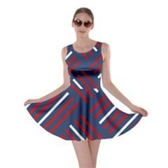 Geometric Background Stripes Red White Skater Dress