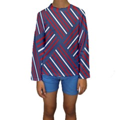 Geometric Background Stripes Red White Kids  Long Sleeve Swimwear