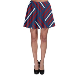 Geometric Background Stripes Red White Skater Skirt