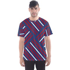 Geometric Background Stripes Red White Men s Sport Mesh Tee