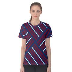 Geometric Background Stripes Red White Women s Cotton Tee