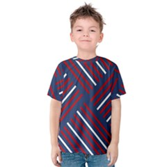 Geometric Background Stripes Red White Kids  Cotton Tee