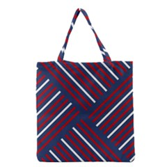 Geometric Background Stripes Red White Grocery Tote Bag