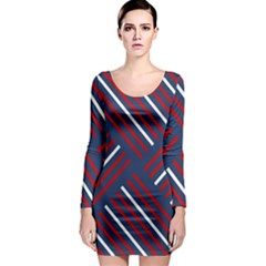 Geometric Background Stripes Red White Long Sleeve Bodycon Dress