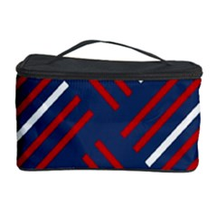 Geometric Background Stripes Red White Cosmetic Storage Case