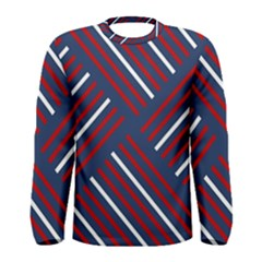 Geometric Background Stripes Red White Men s Long Sleeve Tee