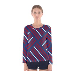 Geometric Background Stripes Red White Women s Long Sleeve Tee