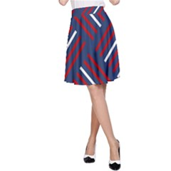 Geometric Background Stripes Red White A-Line Skirt