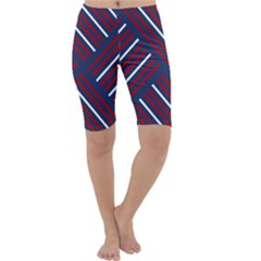 Geometric Background Stripes Red White Cropped Leggings