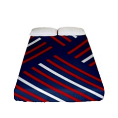 Geometric Background Stripes Red White Fitted Sheet (Full/ Double Size)