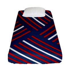 Geometric Background Stripes Red White Fitted Sheet (Single Size)