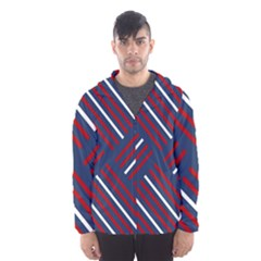 Geometric Background Stripes Red White Hooded Wind Breaker (Men)