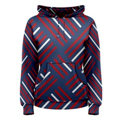 Geometric Background Stripes Red White Women s Pullover Hoodie