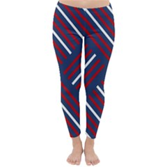Geometric Background Stripes Red White Classic Winter Leggings