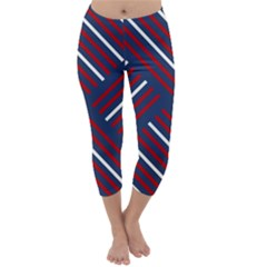 Geometric Background Stripes Red White Capri Winter Leggings