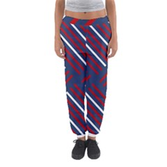 Geometric Background Stripes Red White Women s Jogger Sweatpants